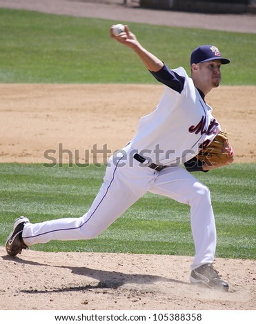 BINGHAMTON, NY - JUNE 14: Binghamton Mets' pitcher Zack Wheeler throws a pitch against the Reading Phillies at NYSEG Stadium on June 14, 2012 in Binghamton, NY - stock photo