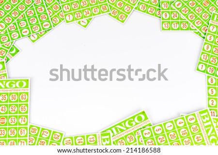 bingo card arrange to have center space background isolated on white background - stock photo