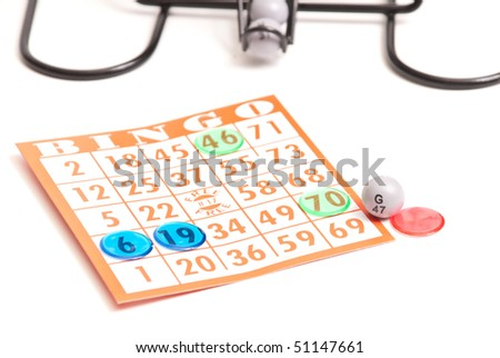 Bingo Card with Pieces and Ball - stock photo