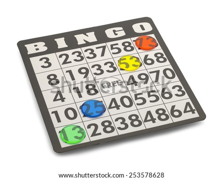 Bingo Card with Winning Chips Isolated on White Background. - stock photo