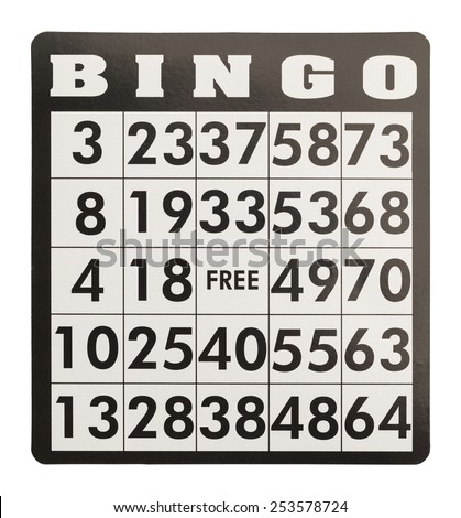 Bingo Card Without Game Pieces Isolated on White Background. - stock photo