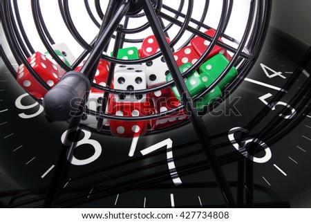 Bingo Game Cage and Clock - stock photo