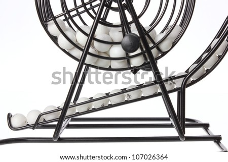 Bingo Game Cage on White Background - stock photo