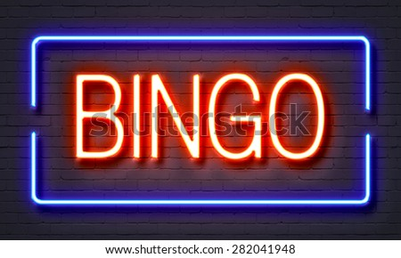 Bingo neon sign on brick wall background - stock photo