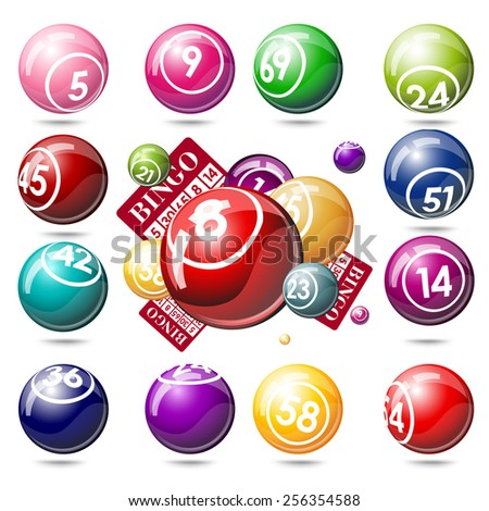 Bingo or lottery balls and cards. Isolated on white background - stock photo
