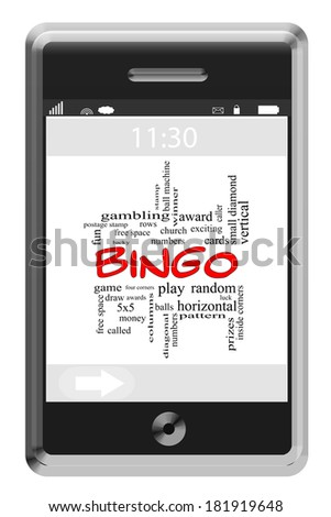 Bingo Word Cloud Concept of Touchscreen Phone with great terms such as numbers, balls, prizes and more.
