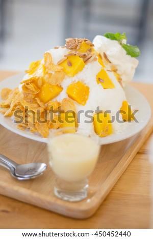 Bingsu Mango - Korean Dessert - stock photo