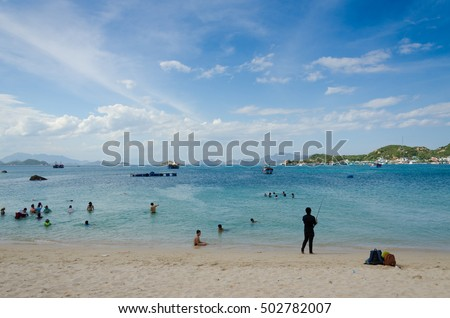 BINH HUNG, VIETNAM - SEPTEMBER 2 2016. People travel at Binh Hung beach. Binh Hung is a beautiful island belong Cam Ranh, Khanh Hoa, Vietnam
