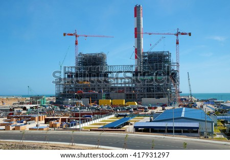 BINH THUAN, VIET NAM- FEB 1,2016: Vinh Tan thermal power plant build at Tuy Phong, Binh Thuan, energy project for industry at Vietnam
