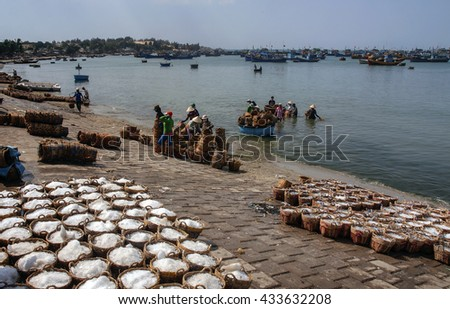 Binh Thuan, Vietnam, April 26, 2016 fishermen, sea Binh Thuan, Vietnam