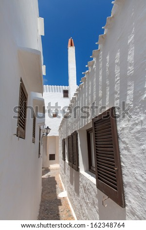 Binibequer Vell in Menorca Binibeca white village Sant Lluis at Balearic Islands