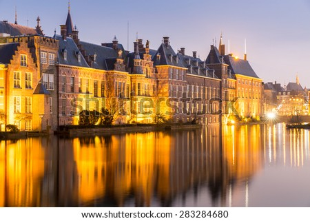 Binnenhof palace, place of Parliament in The Hague, of Netherlands at dusk