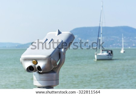 Binocular at Lake Balaton, Hungary - stock photo