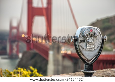 binocular - golden gate.   - stock photo