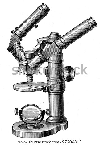 binocular microscope by Nashet for two observers - an illustration of the encyclopedia publishers Education, St. Petersburg, Russian Empire, 1896 - stock photo