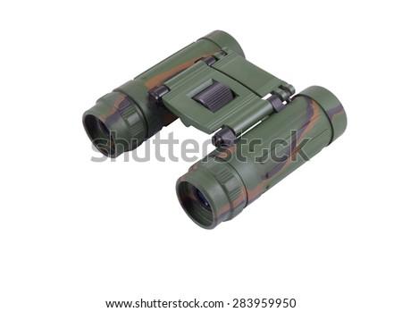Binocular with the clarified optics, isolated image - stock photo