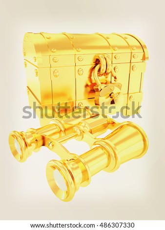 binoculars and chest. 3D illustration. Vintage style.