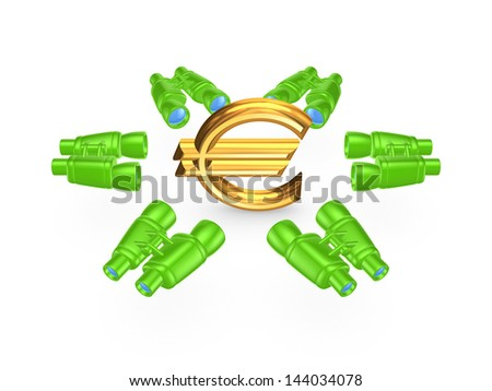 Binoculars around symbol of euro.Isolated on white.3d rendered. - stock photo