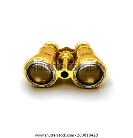 Binoculars isolated on white background - 3d render - stock photo