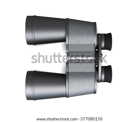 Binoculars isolated on white background, top view. 3d rendering. - stock photo
