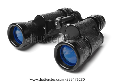 Binoculars on white background - stock photo