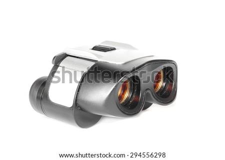 Binoculars on white background. - stock photo