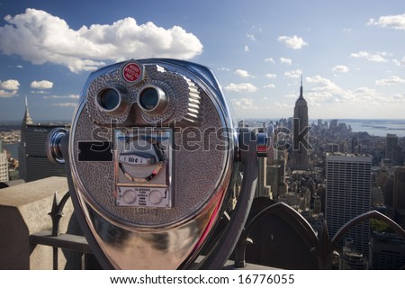 Binoculars overlooking NYC - stock photo