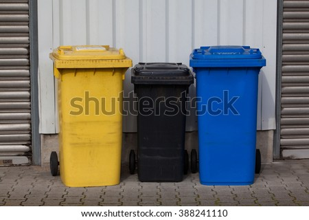 Bins For Collection Of Recycle Materials. Plastic bins. Garbage containers - stock photo