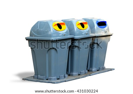 Bins for sorting before disposal on white background/ Clipping path