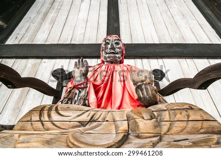 Binzuru Pindola wooden statue in Todai-ji temple - stock photo