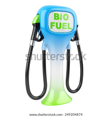 Bio fuel concept with petrol pump machine. Isolated 3d image. - stock photo