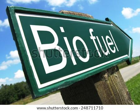 BIO FUEL road sign - stock photo