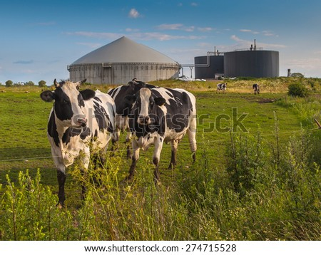 Bio Gas Installation on a farm processing Cow Dung - stock photo