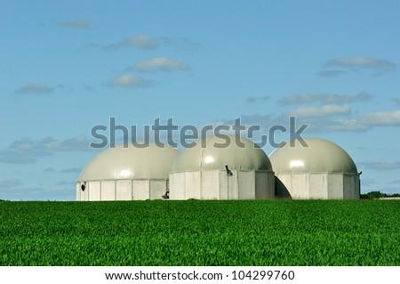 Bio gas tanks. - stock photo