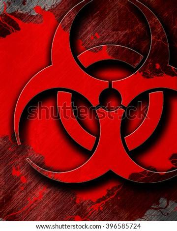 Bio hazard sign on a grunge background - stock photo
