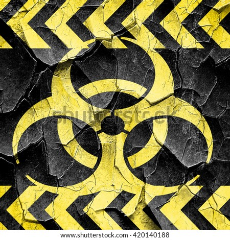 Bio hazard sign on a grunge background, black and yellow rough h - stock photo