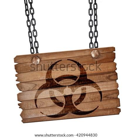 Bio hazard sign on a grunge background, 3D rendering, wooden boa - stock photo