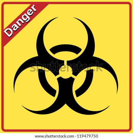 Bio hazard sign. Yellow and black bio hazard - stock photo