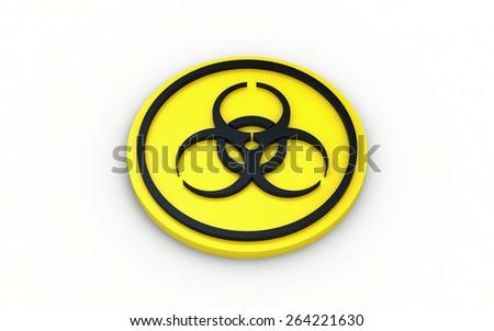 Bio hazard warning sign. 3d Illustration on white background - stock photo
