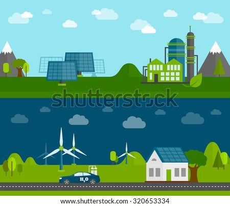 Bio rechargeable green energy production and home solar power system flat horizontal banners set  abstract  illustration