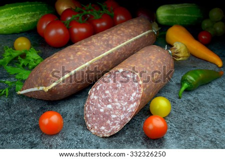 bio salami meats - stock photo