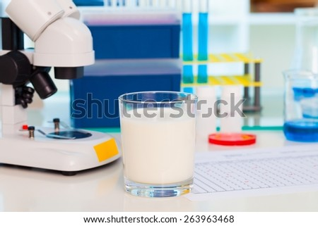 biochemical analysis of milk - stock photo