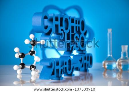 Biochemistry and atom - stock photo
