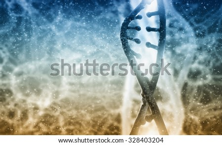 Biochemistry background concept with high tech dna molecule - stock photo