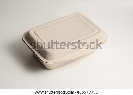 Biodegradable containers isolated on whites background