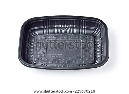 Biodegradable tray Microwave on white background - stock photo