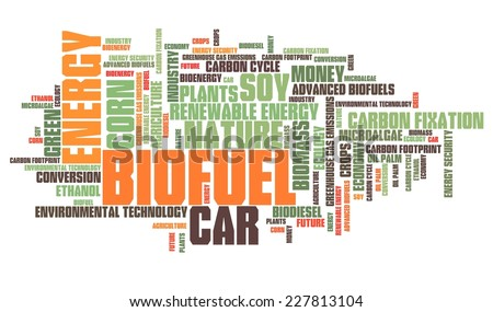 Biofuel - transportation issues and concepts tag cloud illustration. Word cloud collage concept. - stock photo