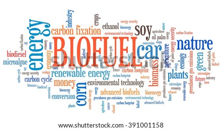 Biofuel - transportation issues and concepts tag cloud illustration. Word cloud collage concept.