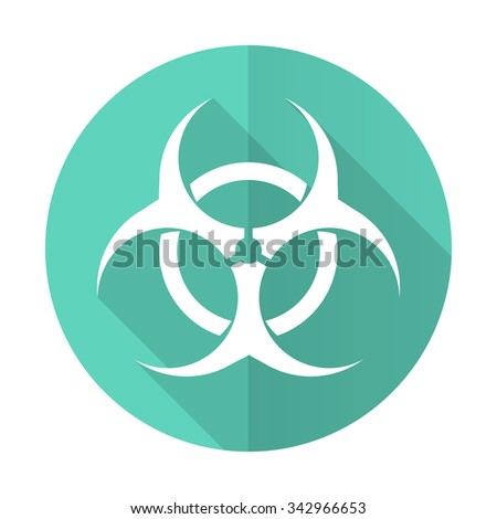 biohazard blue web flat design circle icon on white background