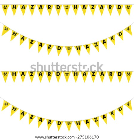 Biohazard Bunting Collection: 3D reflection and flat orthographic textures - stock photo